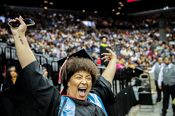 Student Cheering at LaGuardia's 47th Commencement